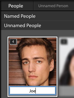Lightroom facial recognition; Naming a stack of images