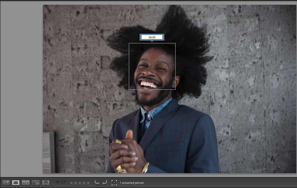 Lightroom Loupe view; Name a detected face