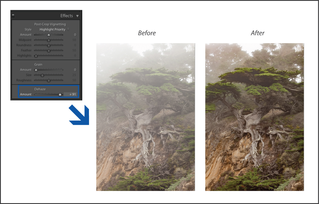 Lightroom Reduce the amount of haze or fog