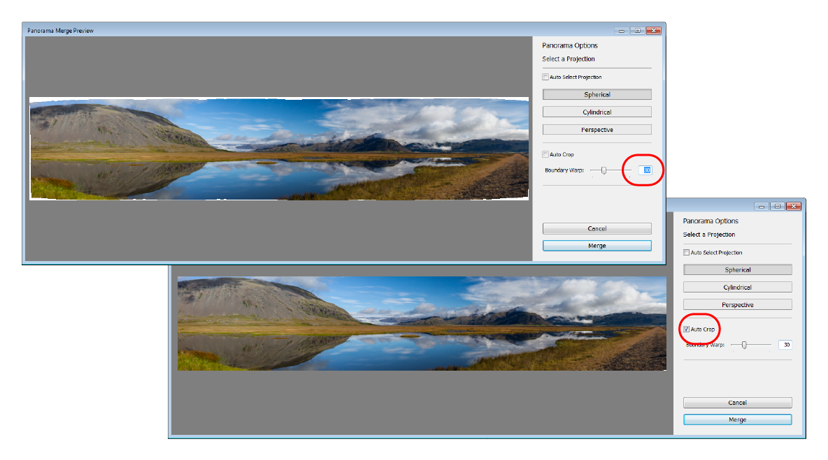 Lightroom Selecting Auto Crop when the Boundary Warp slider is at 30