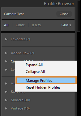 Manage Profiles in Lightroom Classic