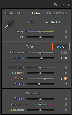 Enhanced Auto feature in Lightroom Classic CC