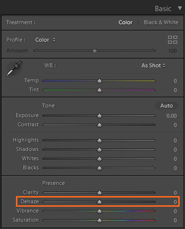Dehaze slider in the Basic panel