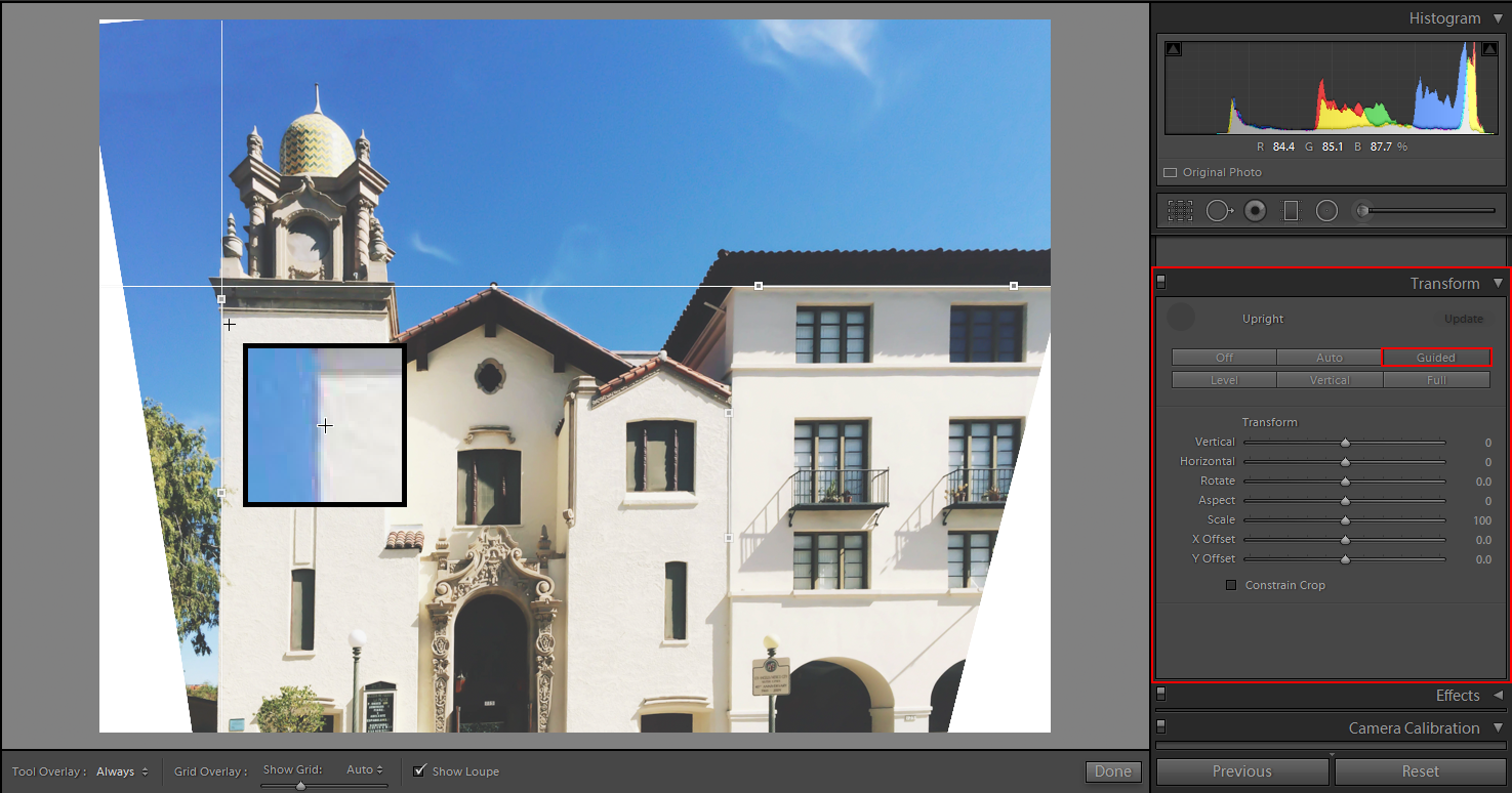 Draw guides on your photo using Guided Upright Tool in Lightroom CC