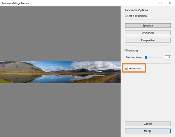 Create Stack option in the Panorama Merge Preview window