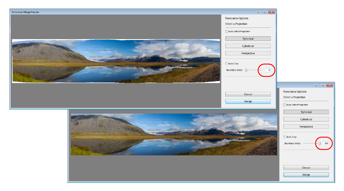 Lightroom Boundary Warp in action; adjusting the slider from 0 (above) to 100 (below)