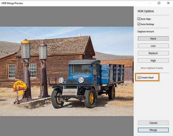 Create Stack option in the HDR Merge Preview window