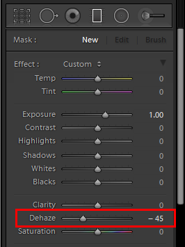 Lightroom Dehaze as a local adjustment