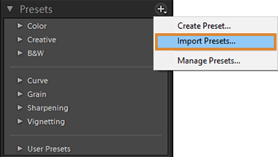 Presets panel - Import Presets and Profiles as a zip file