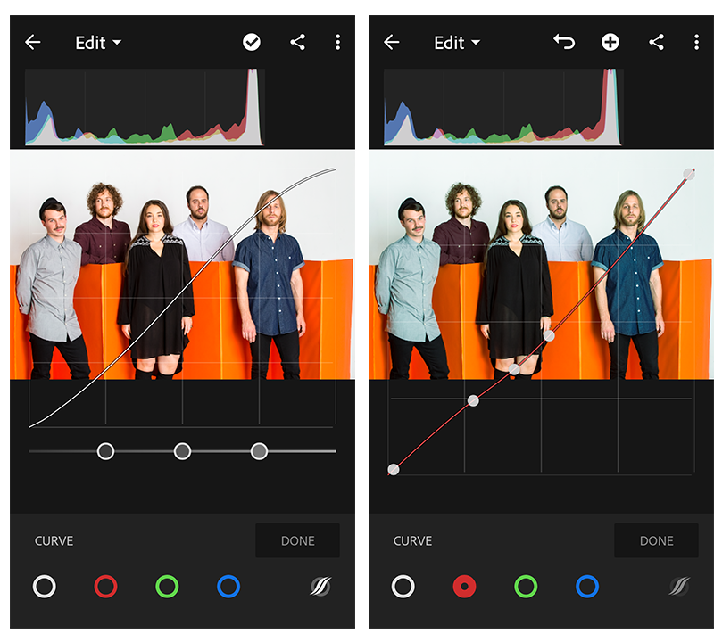 Using the Tone Curve in Adobe Photoshop Lightroom CC for mobile (Android)