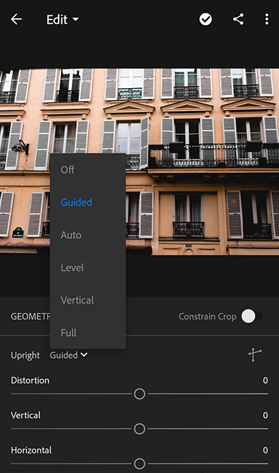 Upright modes in Lightroom CC for mobile Android