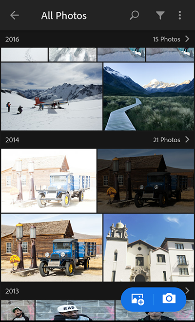 Lightroom Photos view in Adobe Photoshop Lightroom CC for mobile (Android)