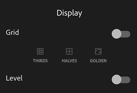 Viewfinder Overlay options in Adobe Photoshop Lightroom CC for mobile Android