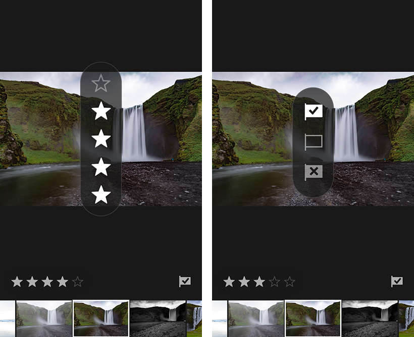 Rate & Review panel in Adobe Photoshop Lightroom CC for mobile (iOS)
