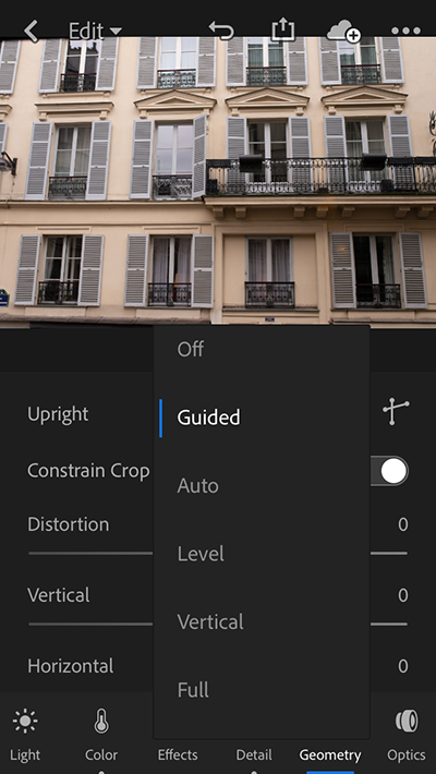 Upright modes in Lightroom for mobile iOS