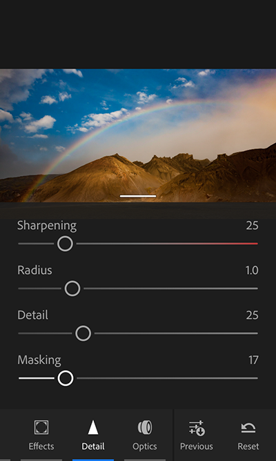 (iPhone) Noise reduction and sharpening controls in Adobe Photoshop Lightroom CC for mobile