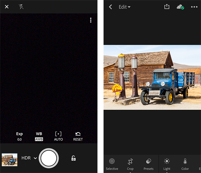 HDR mode in Adobe Photoshop Lightroom CC for mobile (iOS)