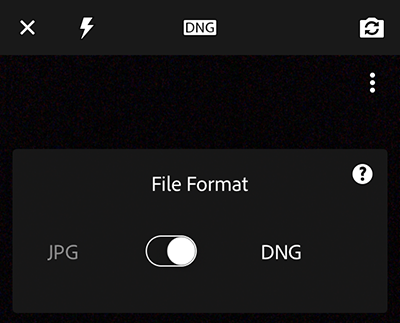 Choose file format of captured photo — JPG or Adobe DNG