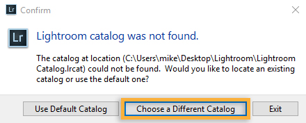Choose a different catalog to open.