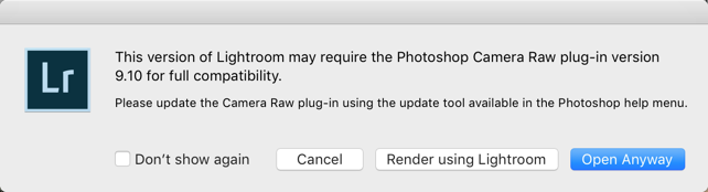 This version of Lightroom may require the Photoshop Camera Raw plug-in version 9.10 for full compatibility.