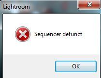 Lightroom Error Sequencer defunct