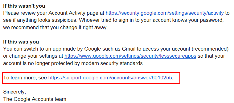 Google security message