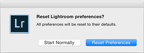 Reset Lightroom preferences