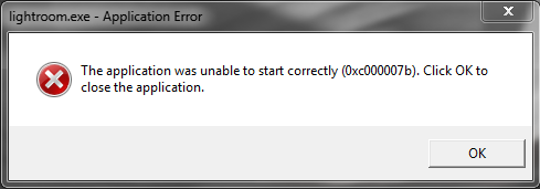Application Error message