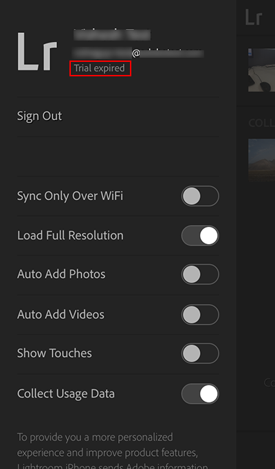 Lightroom mobile Trial expired status in the sidebar