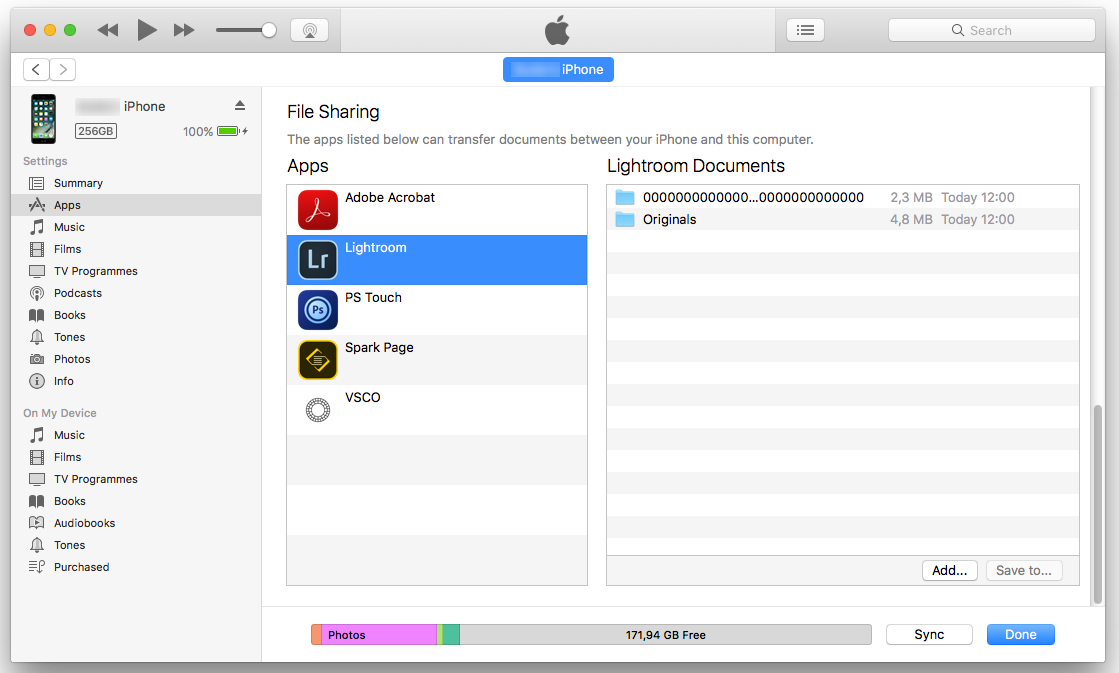 Copy Lightroom folders in the iTunes File Sharing area