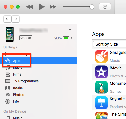 Apps installed on the connected mobile device in iTunes
