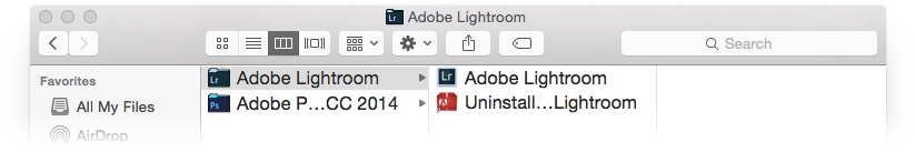 Adobe Lightroom application folder