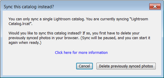 Delete previously synced catalog dialog box redirects you to Lightroom on the web