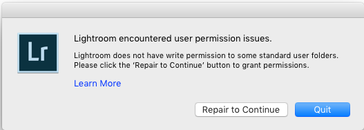 Solutions to Adobe Lightroom Lightroom user permission issues on launch