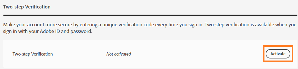 Activate two-step verification