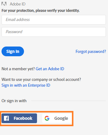 Sign in to your Adobe ID account with your Facebook or Google