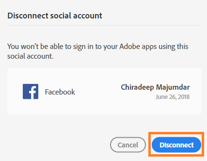 Disconnect accounts dialog