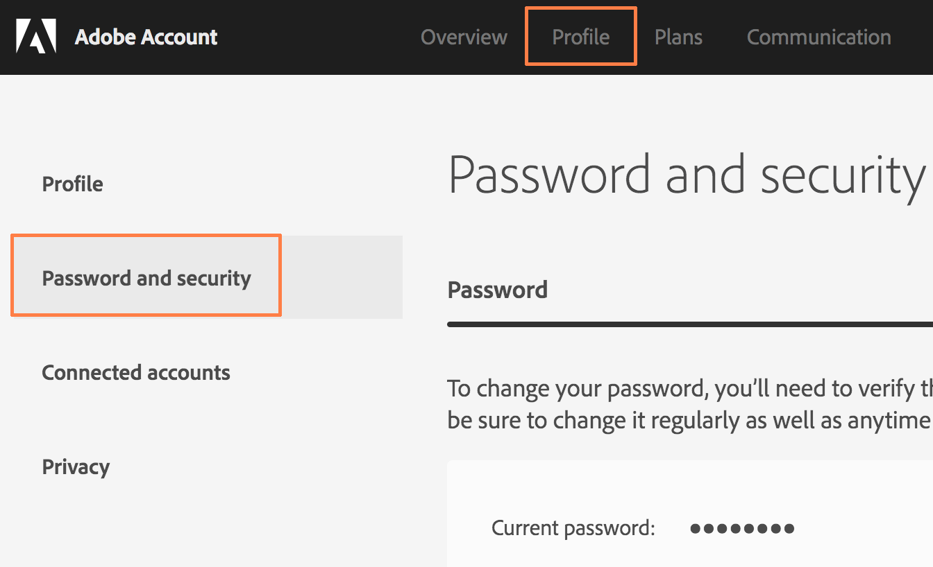 Profile-Password-screen