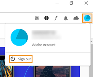 Signout option in the Creative Cloud desktop app