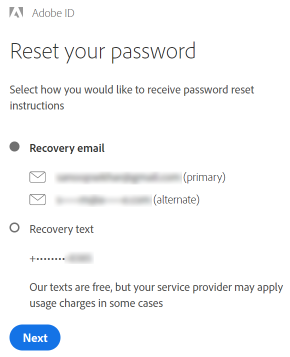 Reset your password screen