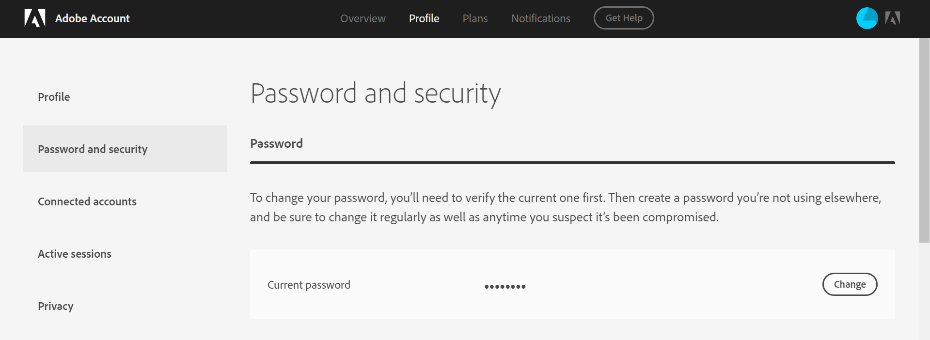 Password and security screen