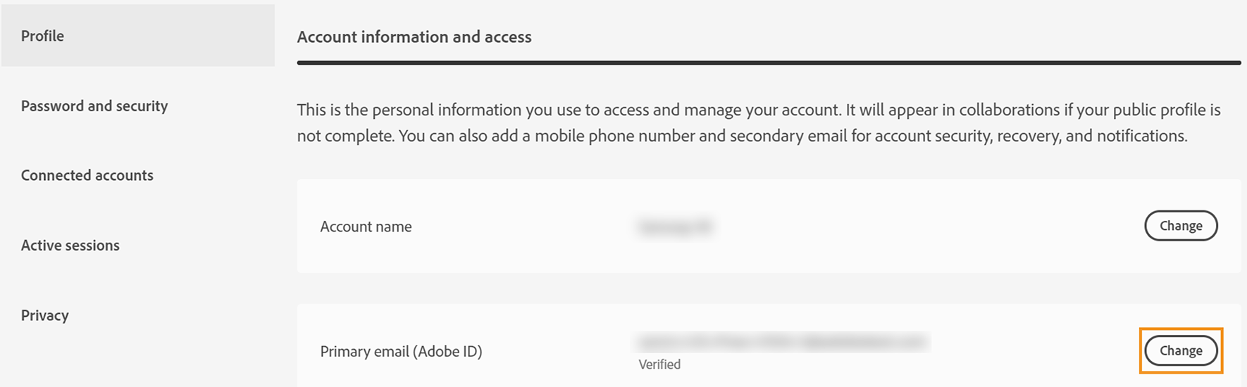"Click ""Change"" next to Primary email (Adobe ID)"