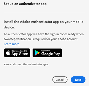 Set up an authenticator app