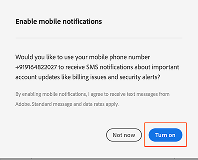 Confirm that you want to enable text (SMS) notifications on your mobile phone