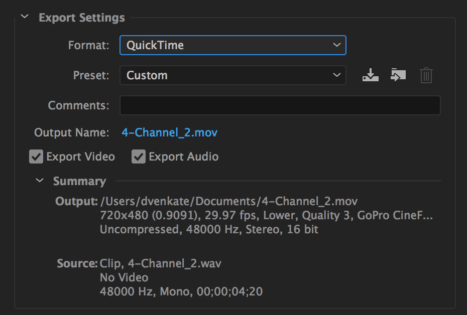 QuickTime export setting