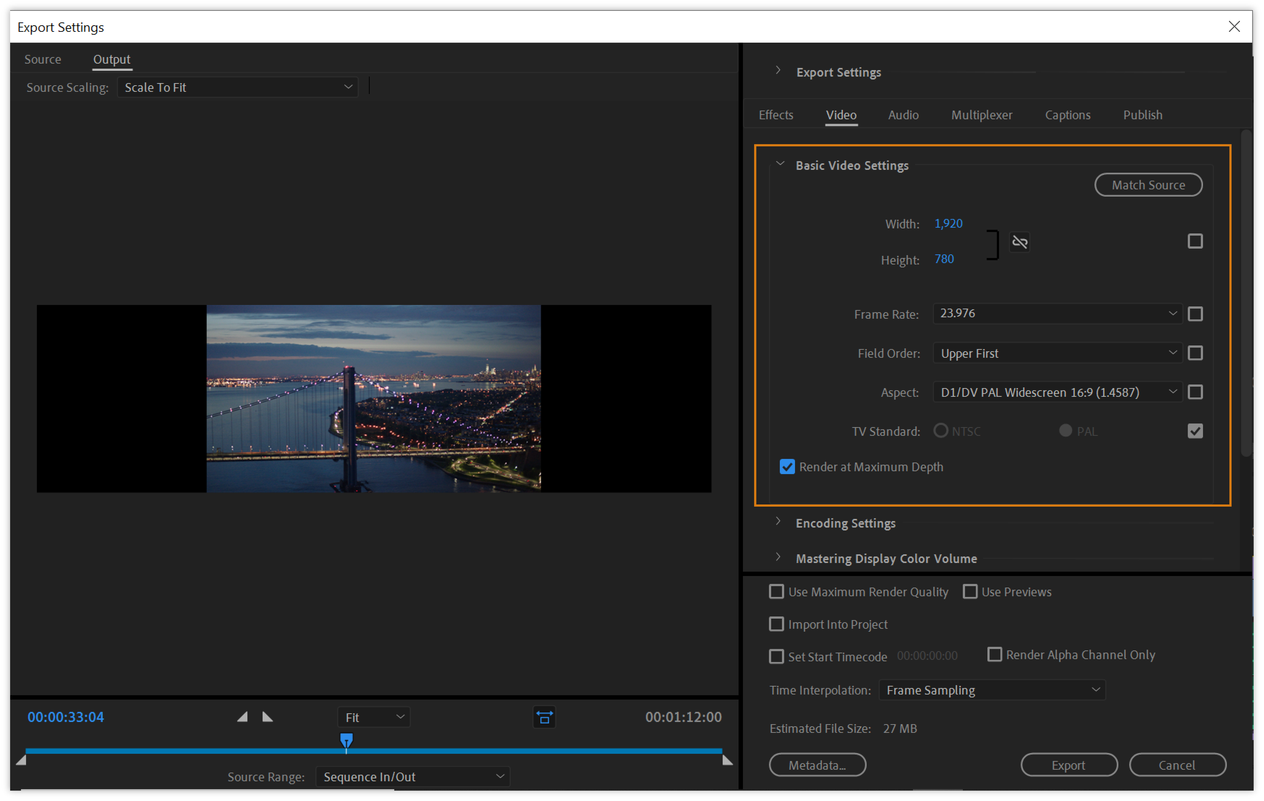 Basic video settings