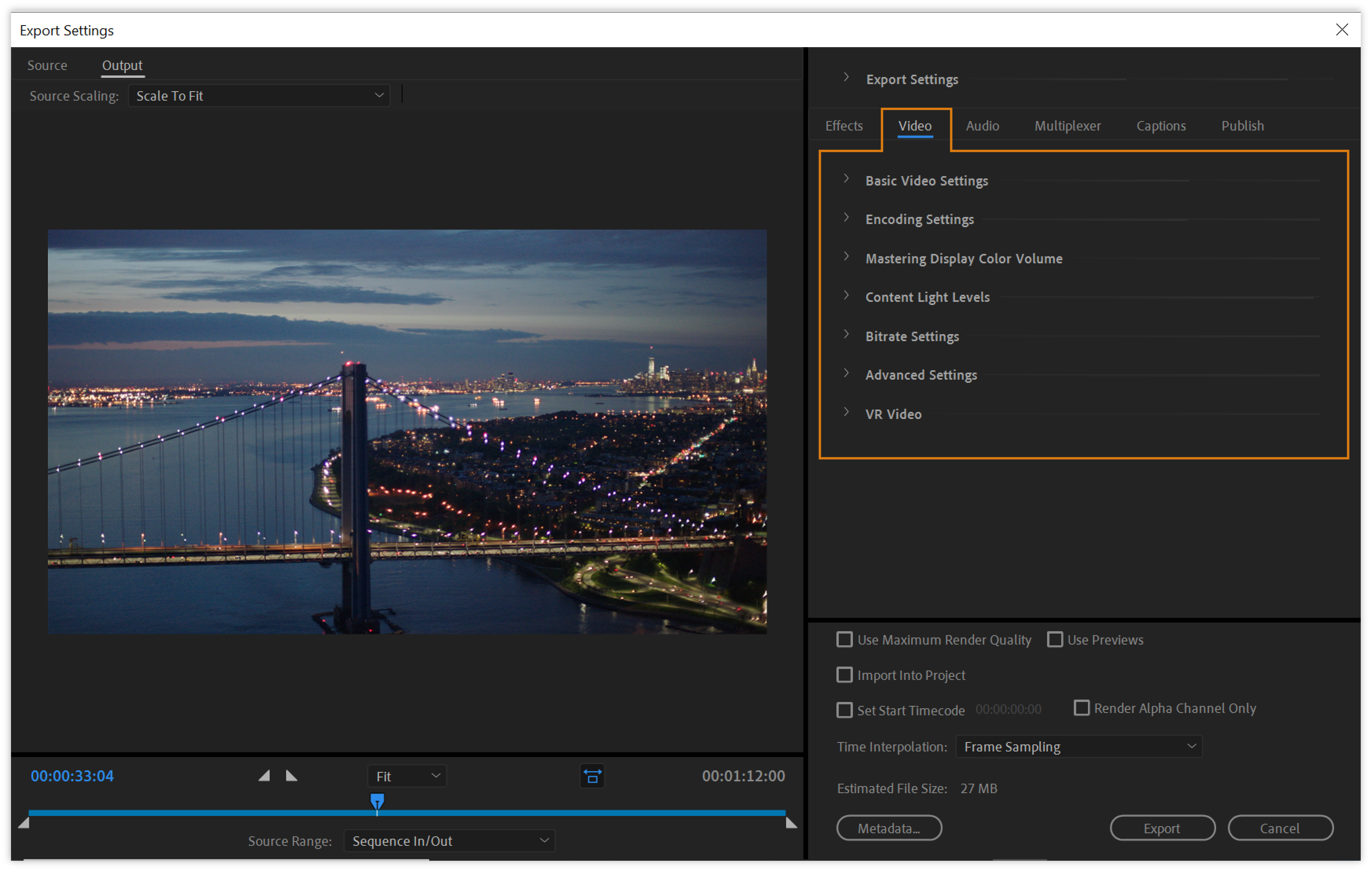 Video export settings