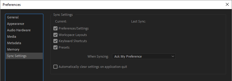 Sync Settings preferences