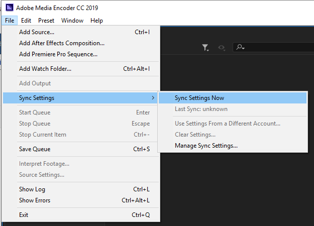 Accessing the Sync Settings dialog