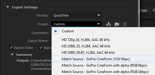 CineForm presets
